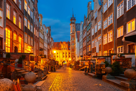 main street: Beautiful historic houses on Mariacka, St Mary, street and gate in Gdansk Old Town, Poland