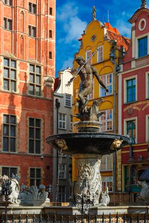 neptun: Fountain of Neptune on the Long Market Street in Main City of Gdansk, Poland