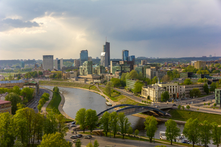 center city: View from the Gediminas Tower in the city Vilnius, Lithuania, Baltic states. Stock Photo