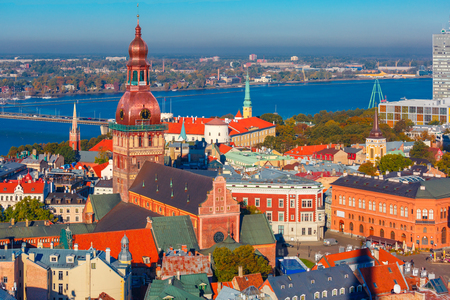 western town: Aerial view of Old Town and River Daugava from Saint Peter church, with Riga Cathedral, Cathedral Basilica of Saint James and Riga castle, Riga, Latvia
