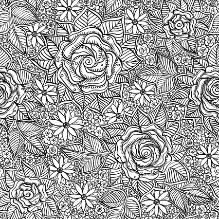 black circle: vector seamless black and white pattern of spirals, swirls, doodles