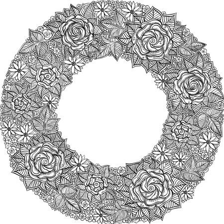 floral frame: vector black and white floral frame pattern of spirals, swirls, doodles Illustration