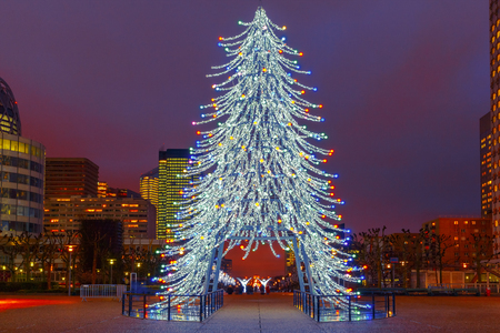 la defense: Christmas tree among the skyscrapers in Paris, France