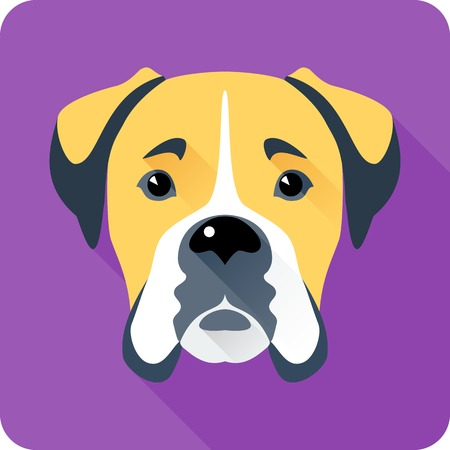 animals and pets: Vector serious dog Boxer icon flat design