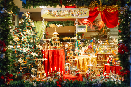 toy shop: Christmas market decorated and illuminated in Bruges, Belgium.