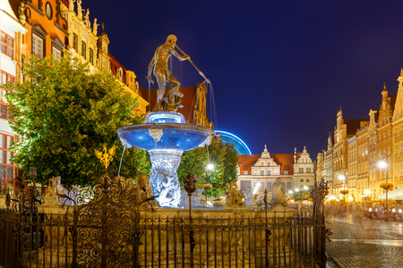 gdansk: Long Market Street with Fountain of Neptune at night in Main City of Gdansk, Poland