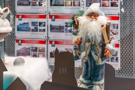 shop window: Santa Claus and Christmas tree at shop window in Bruges, Belgium Stock Photo