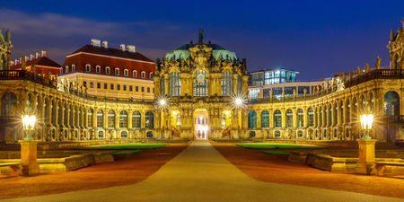 saxony: Panorama of Zwinger at night in Dresden, Saxony, eastern Germany Stock Photo