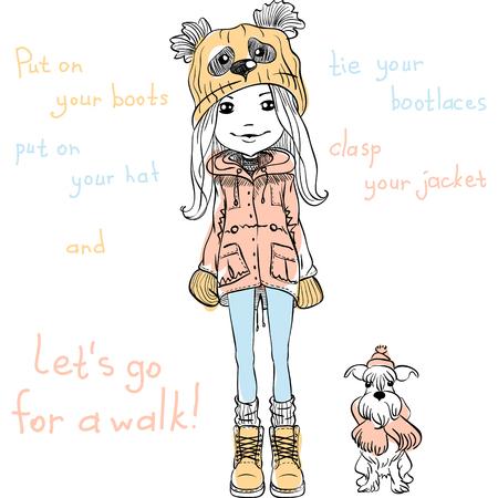 femme dessin: Vecteur mignon belle fille à la mode dans un drôle de chapeau avec un panda de bouche avec un chien Illustration