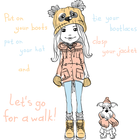 shoes cartoon: Vector Cute beautiful fashionable girl in a funny hat with a muzzle panda with dog