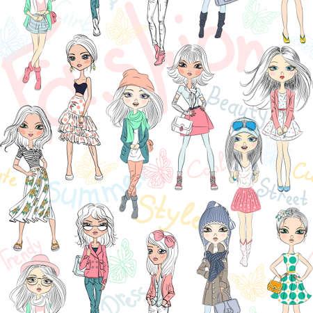 fashion: nahtlose Hintergrund mit schönen Mode-Mädchen Top-Modell Illustration