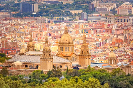 montjuic: Aerial view of National Art Museum in Barcelona from hill Montjuic, Catalonia, Spain Stock Photo