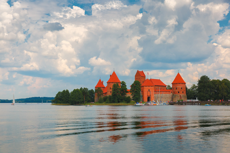 loopholes: Trakai Island Castle or Traku pilis in summer day near Vilnius, Lithuania