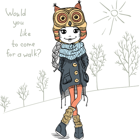Vector Cute beautiful fashionable girl in a funny hat with an owl