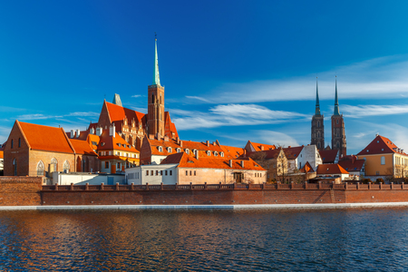 st john: Cathedral Island or Ostrow Tumski with with Cathedral of St. John and church of the Holy Cross and St. Bartholomew in the morning in Wroclaw, Poland