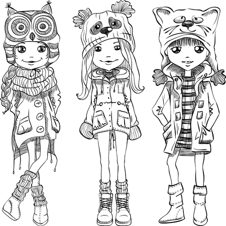 fall fashion: Vector cute beautiful fashionable girls in funny hats with muzzle cat, panda and owl Illustration