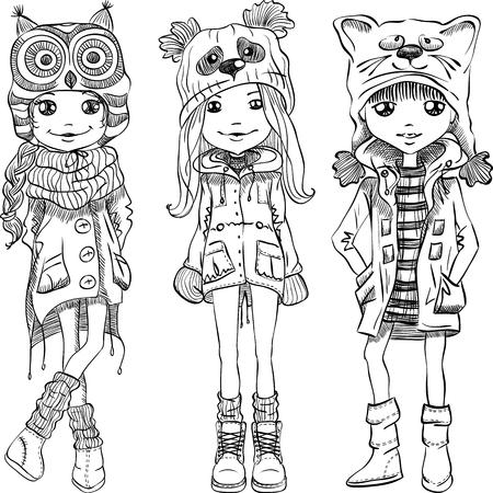 Vector lindo hermosas chicas de moda en sombreros divertidos con el gato hocico, panda y el búho