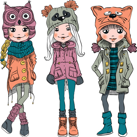 woman shoes: Vector cute beautiful fashionable girls in funny hats with muzzle cat, panda and owl Illustration