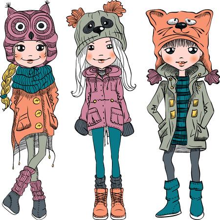 Vector leuke mooie modieuze meisjes in grappige hoeden met snuit kat, panda en uil Vector Illustratie