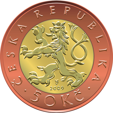 valuta: Gold money fifty czech crones coin with crowned heraldic lion and nominal Illustration