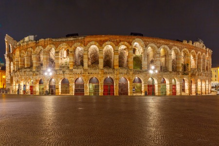 arena: Ancient Roman Arena at night in Verona, northern Italy