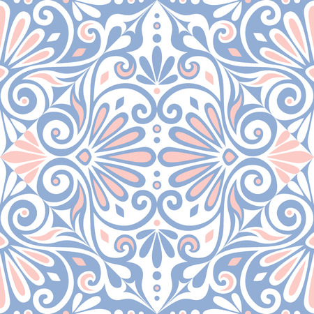 meander: Traditional  seamless vintage pink, white and blue square floral Greek ornament, Meander