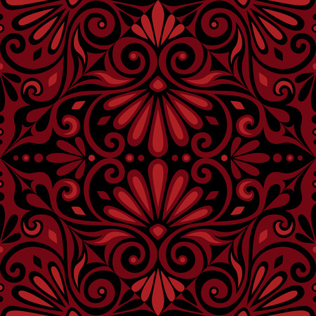 Traditional  seamless vintage red and black square floral Greek ornament, Meander