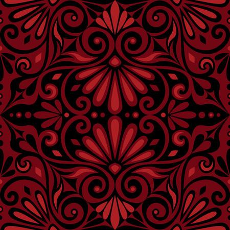 greek: Traditional  seamless vintage red and black square floral Greek ornament, Meander