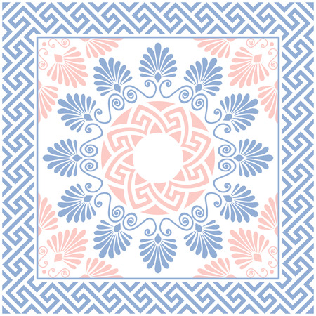 Traditional  seamless vintage pink, white and blue round floral Greek ornament, Meander