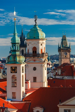 old town hall: Aerial view over Old Town in Prague with domes of churches, Bell tower of the Old Town Hall, Czech Republic Stock Photo