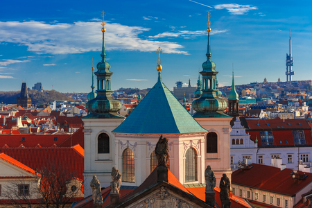 unesco in czech republic: Aerial view over Old Town in Prague with domes of churches, Czech Republic