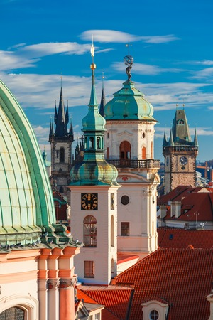 unesco in czech republic: Aerial view over Old Town in Prague with domes of churches, Bell tower of the Old Town Hall, Czech Republic Stock Photo