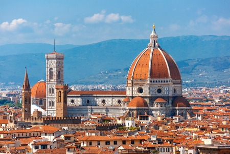 fiore: Duomo Santa Maria Del Fiore and Bargello in the morning from Piazzale Michelangelo in Florence, Tuscany, Italy