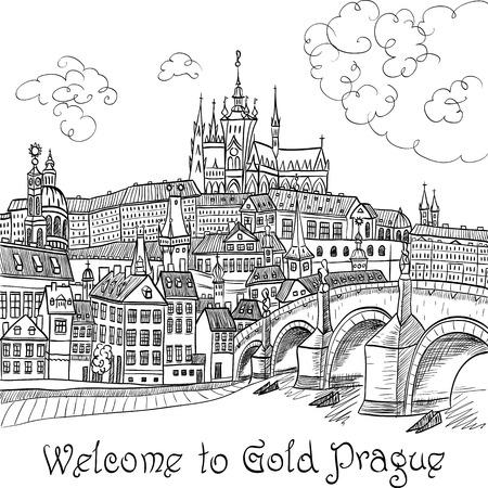 Vector sketch of Prague landscape with Prague Castle and Charles Bridge