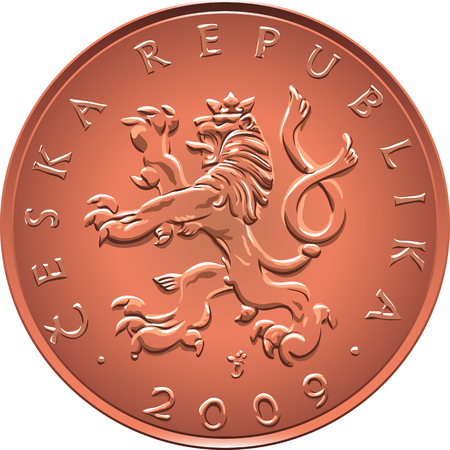 heraldic lion: Obverse Gold money ten czech crones coin with crowned heraldic lion and nominal