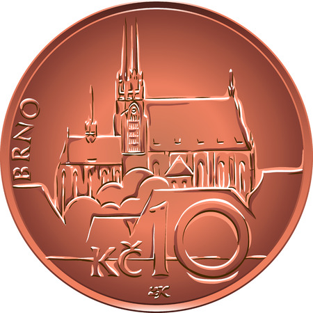 Gold money, reverse of the coin ten czech crones with nominal, the inscription Brno,  and city view Illustration