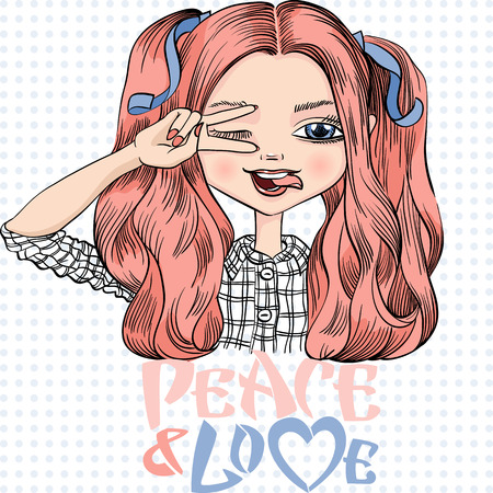 tongue woman: Vector beautiful fashionable girl makes peace sign hands, smiles a happy smile and showing tongue