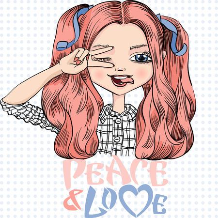 Vector hermosa chica de moda hace que las manos signo de la paz, sonríe una sonrisa feliz y mostrando la lengua
