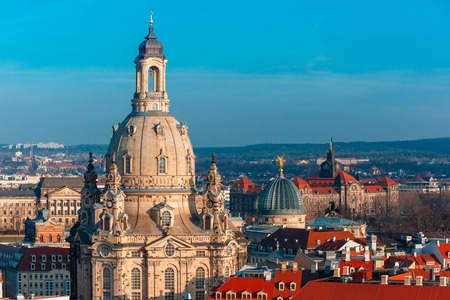 frauenkirche: Aerial view over Frauenkirche and glass dome of Academy of Fine Arts or Lemon Squeezer and roofs of old Dresden, Saxony, Germany