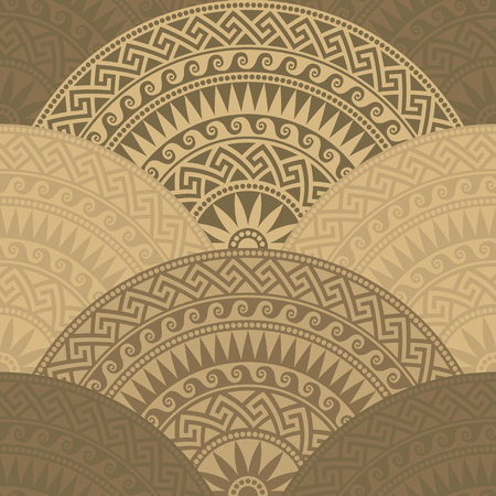 fan shaped: Traditional  seamless vintage brown fan shaped ornate elements with Greek patterns, Meander