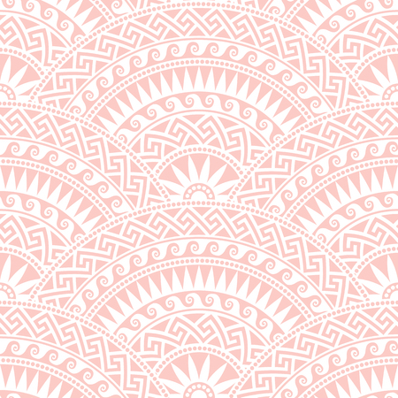 fan shaped: Traditional  seamless vintage pink and white fan shaped ornate elements with Greek patterns, Meander