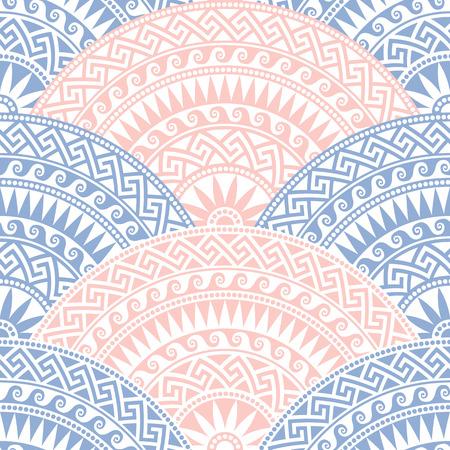 bleu traditionnel seamless vintage, rose et blanc en forme de fan éléments ornés avec des motifs grecs, Meander Vecteurs