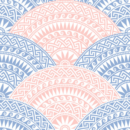 Traditional  seamless vintage blue, pink and white fan shaped ornate elements with Greek patterns, Meander