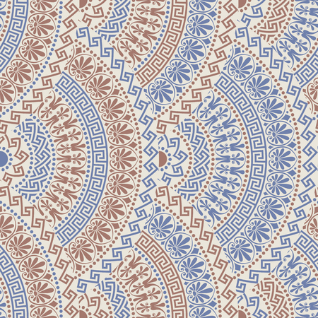 batik motif: Traditional  seamless vintage blue, brown and grey and white fan shaped ornate elements