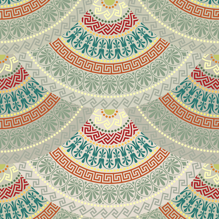motley: Traditional  seamless vintage motley fan shaped ornate elements with Greek patterns, Meander