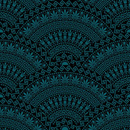 batik motif: Traditional  seamless vintage dark fan shaped ornate elements with Greek patterns, Meander Illustration