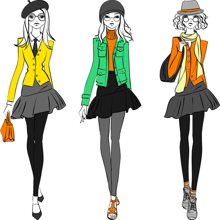 modish: Cute beautiful fashionable hipster girls in jackets, skirts and caps with bags. T-shirt Graphics. Girl print.