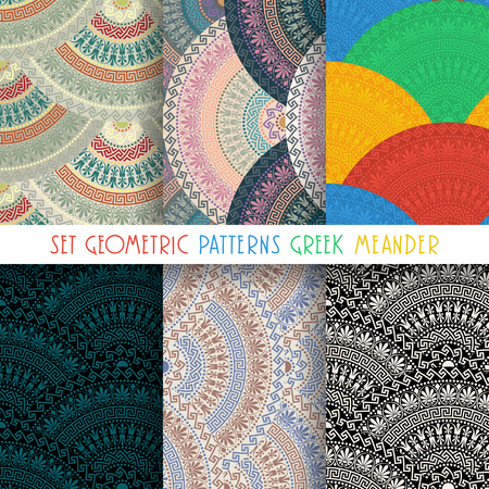 fan shaped: Set seamless vintage motley fan shaped ornate elements with Greek patterns, Meander Illustration