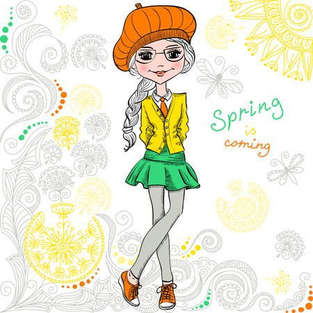 trendy girl: Cute fashionable hipster girl with sign Spring is Coming and pattern of doodles and flowers. T-shirt Graphics. Girl print. Illustration