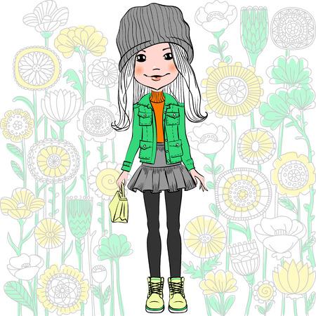 Schattig modieuze hipster meisje en het patroon van doodles en bloemen. T-shirt Graphics. Meisje afdrukken.